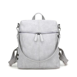 Gray Vegan leather backpack purse