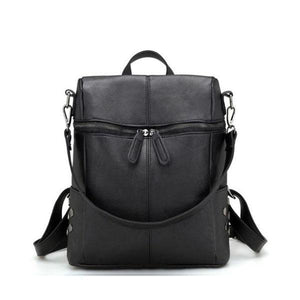 Black Vegan leather backpack purse