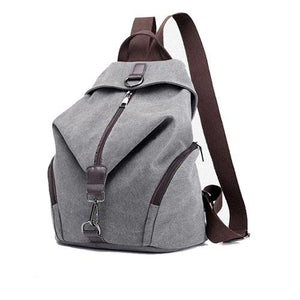 Canvas grey backpack for women anti theft