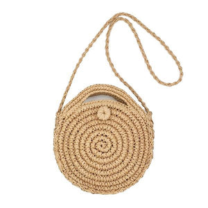 straw circle round bag with shoulder strap