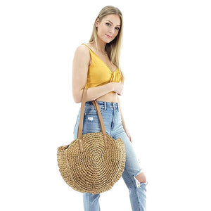 straw round beach bag