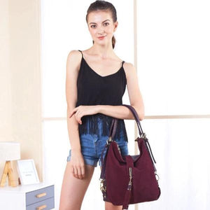 Suede hobo bag with crossbody strap