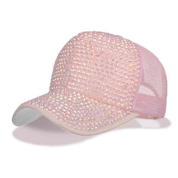 Pink womens baseball cap with Rhinestone