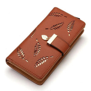 Brown cute wallets for women with wristlet