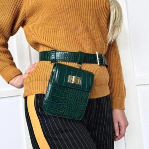 Green fashion fanny pack crocodile print