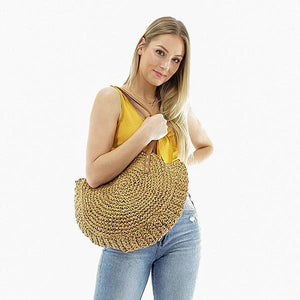 women straw beach bag with handle