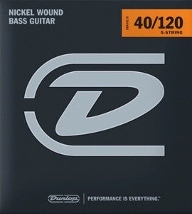 Dunlop Nickel Wound Steel Light Gauge 5 String set 40-120 Bass Strings - DBN40120