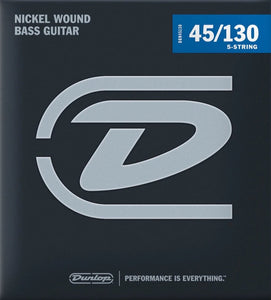 Dunlop Nickel Wound Medium Gauge 5 String set 45-130 Bass Strings- DBN45130