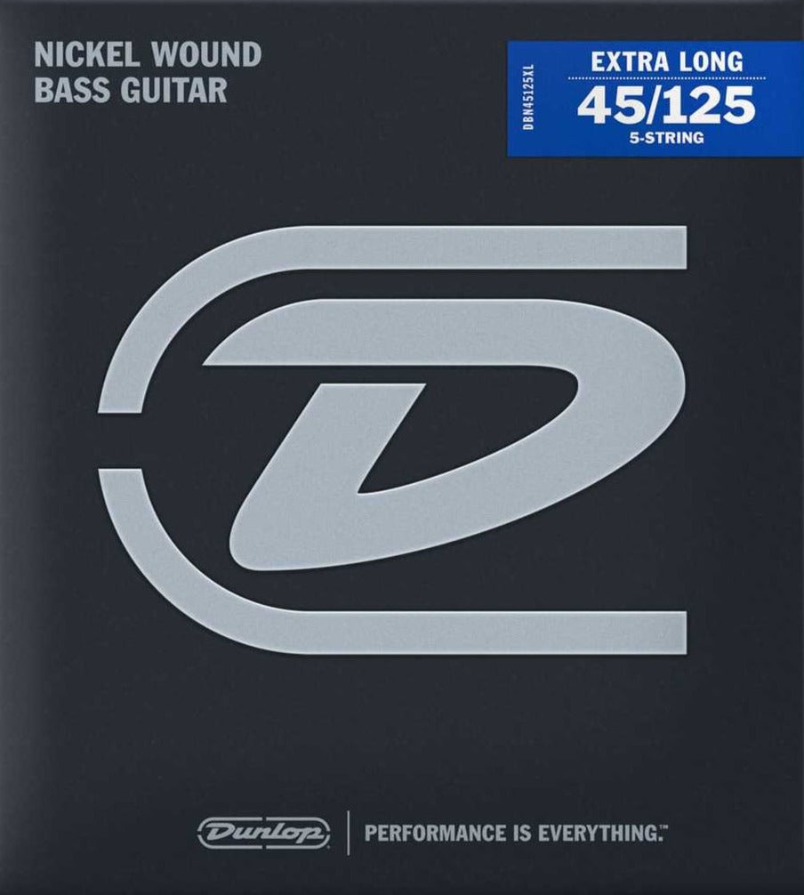 Dunlop Nickel Wound Steel Medium Gauge 5-String set 45-125 Extra Long Scale Bass Strings - DBN45125XL
