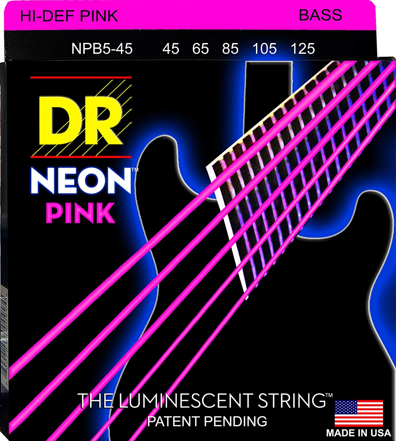 DR NPB5-45 NEON™ Hi-Def© Pink Coated Bass: 45, 65, 85, 105, 125