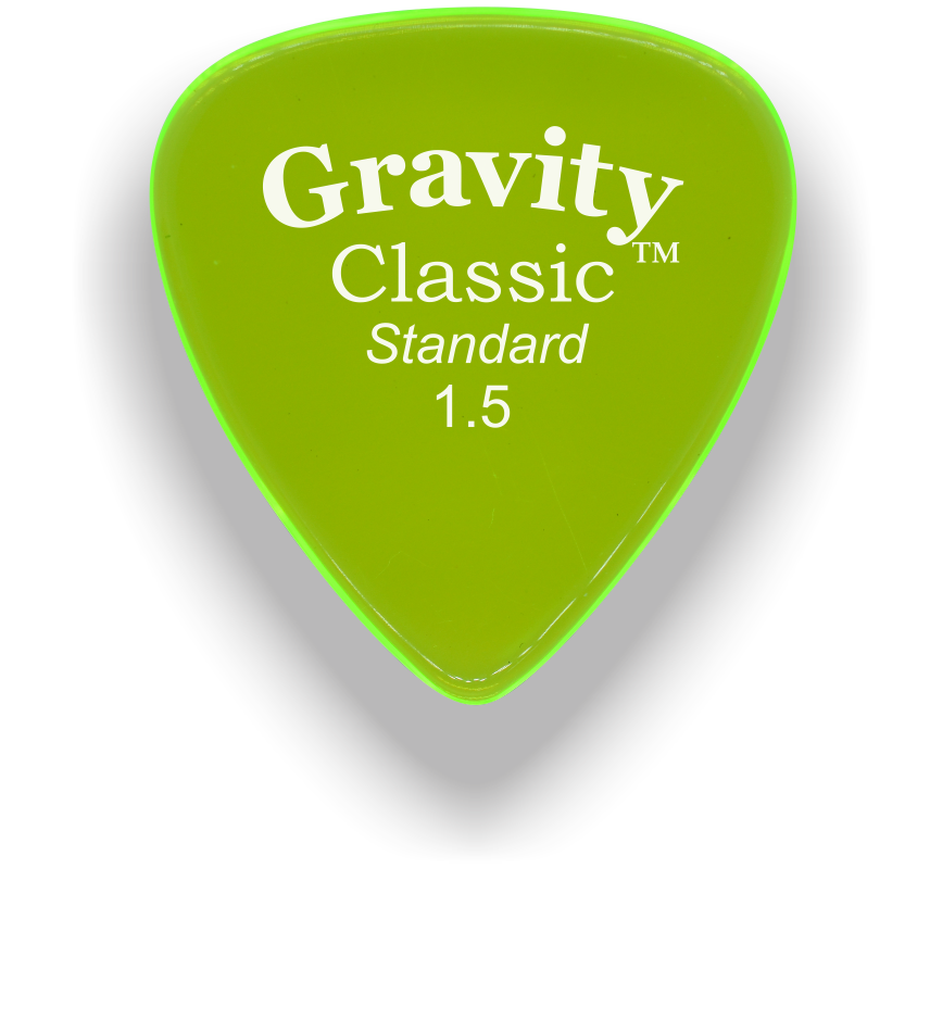 Gravity Picks Classic Standard 1.5 mm Polished Fluro Green