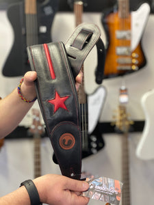 "Ergo-Straps Custom Shop Jazz Star 4"" Black/Red (Padded, Genuine Leather)"