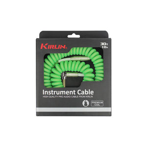 Kirlin 30FT Premium Right Angle Coil Cable  Green