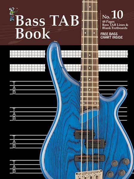 Manuscript Book 10 Bass Tab. 48-Pages/Bass Tab Lines/Blank Fretboards