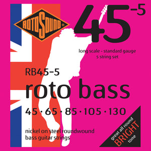 Rotosound RB455 Rotobass Long Scale Standard 5 String 45-130 Bass Strings