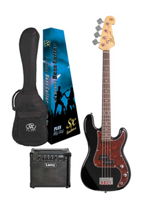 SX ¾ Size P Bass in Black and Laney Amp Pack