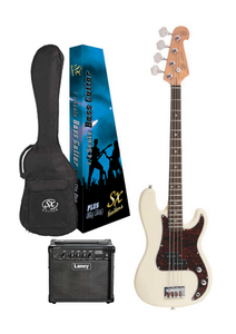 SX ¾ Size P Bass in Vintage White and Laney Amp Pack
