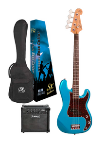 SX ¾ Size P Bass in Lake Placid Blue and Laney Amp Pack
