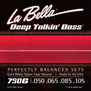 La Bella 750G Gold White Nylon Tape Bass Strings - Light 50-105