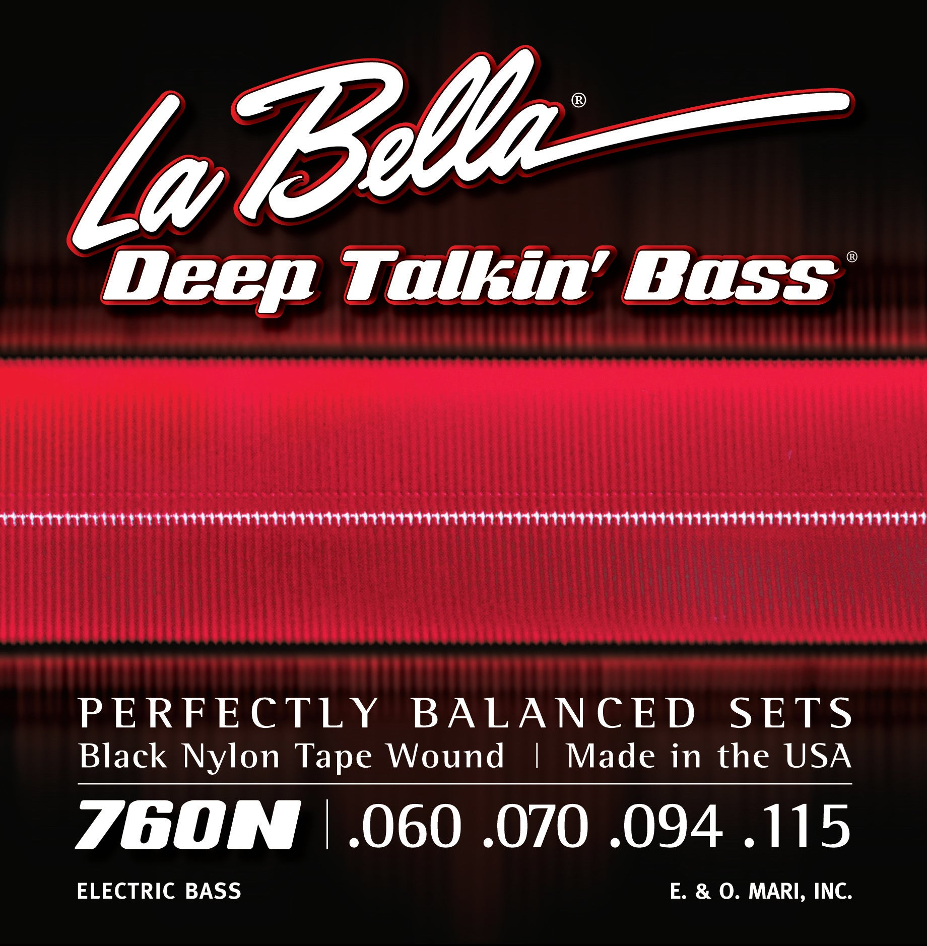 La Bella 760N DTB Black Nylon Tape Bass Strings - Standard 60-115