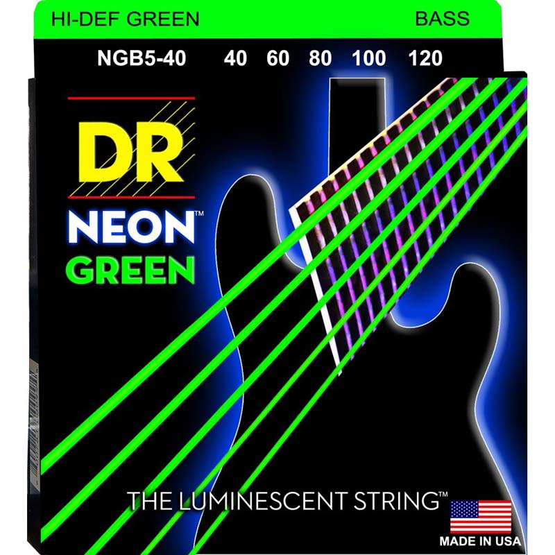 DR NGB5-40 NEON™ Hi-Def© Green Coated Bass: 40, 60, 80, 100, 120