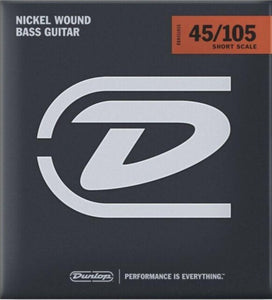 Dunlop Nickel Wound Steel Medium Gauge 45-105 Short Scale Bass Strings -DBN45105S
