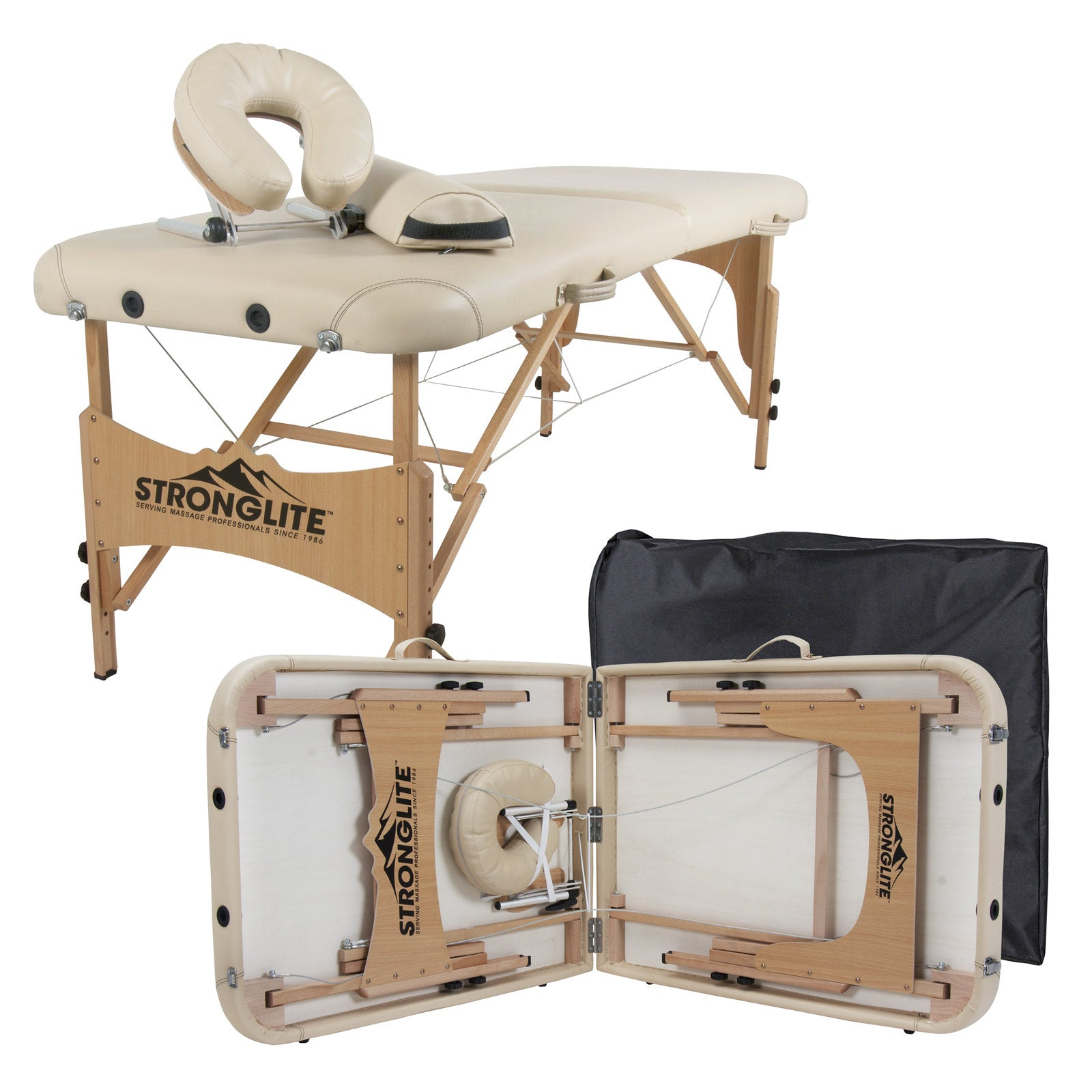 "STRONGLITE Portable Massage Table Olympia - Full Package w/Adjustable Face Cradle, Face Pillow, Half Round Bolster & Carry Case (28x 73"")"