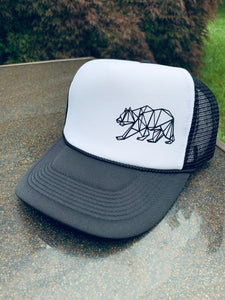 Black and White Grizzly Snapback Trucker