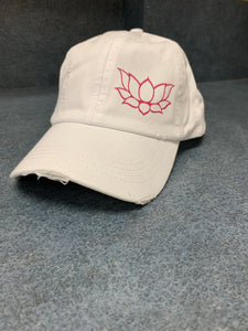 Unstructured Distressed White Lotus Hat