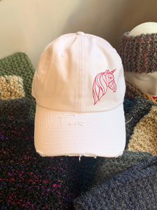 White Unstructured Distressed Unicorn Hat