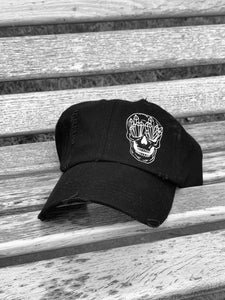 Black Crystal Skull Unstructured Distressed Hat