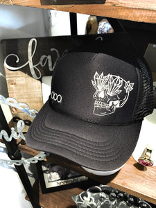 Black Old School Skull SnapBack Trucker