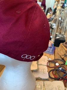 Unstructured Distressed Burgundy Dragonfly Hat
