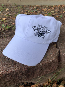 White Unstructured Distressed Bumblebee Hat