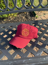 Load image into Gallery viewer, Burgundy Distressed Sunflower Hat