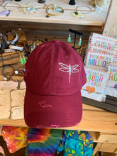 Load image into Gallery viewer, Unstructured Distressed Burgundy Dragonfly Hat