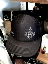 Load image into Gallery viewer, Black Fleuer-de-Lis SnapBack Trucker