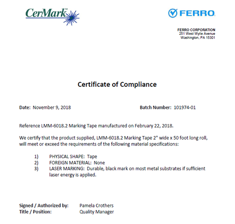 Material Certificate of Compliance
