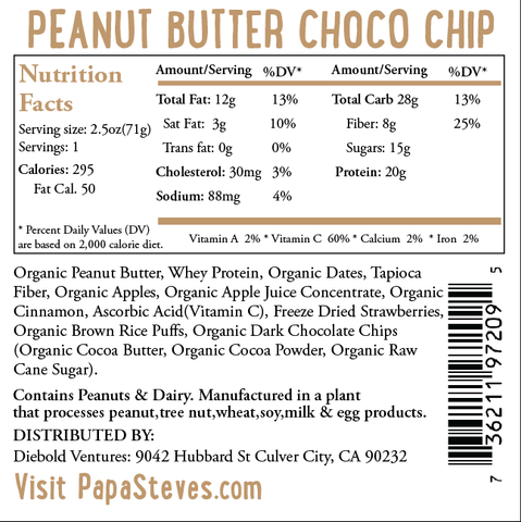 Peanut Butter Choco Chip Raw Protein Bar Nutrition Facts