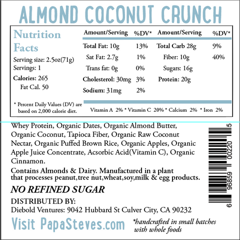 Almond Coconut Crunch - Papa Steve's No Junk Raw Protein Bars