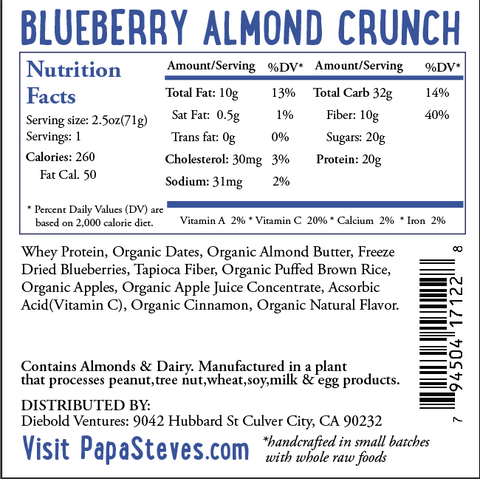 Blueberry Almond Crunch - Papa Steve's No Junk Raw Protein Bars