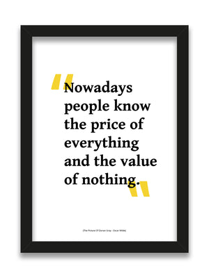 Oscar Wilde - The Picture Of Dorian Grey Value of Nothing