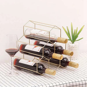 Finer Drinking Table Top Metal Wine Rack