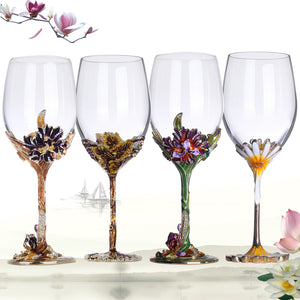 Finer Drinking Enamel Wine Goblets - Flora Series (Pair)