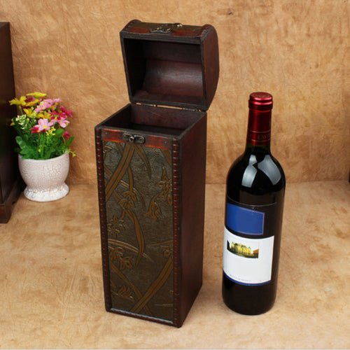 Retro Art Wooden Wine Gift Box