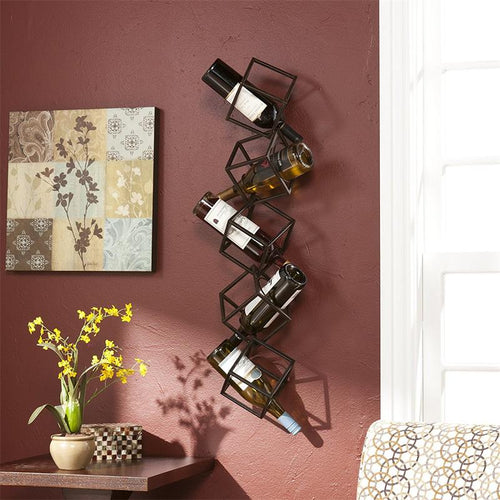 Finer Drinking Iron Cube Wall Wine Rack