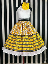 Load image into Gallery viewer, Lights camera action yellow 2 panel pin up skirt