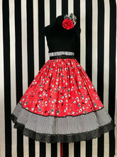 Load image into Gallery viewer, Vintage hairstyling print 2 panel skirt