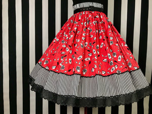 Vintage hairstyling print 2 panel skirt