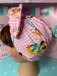 50's housewives potty mouth pink gingham head wrap